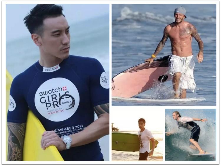 男明星也十分热衷和喜爱冲浪运动